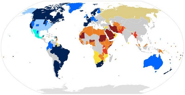 World homosexuality Laws. Click on image to see legend. courtesy Wikimedia Commons. CC BY-SA 3.0