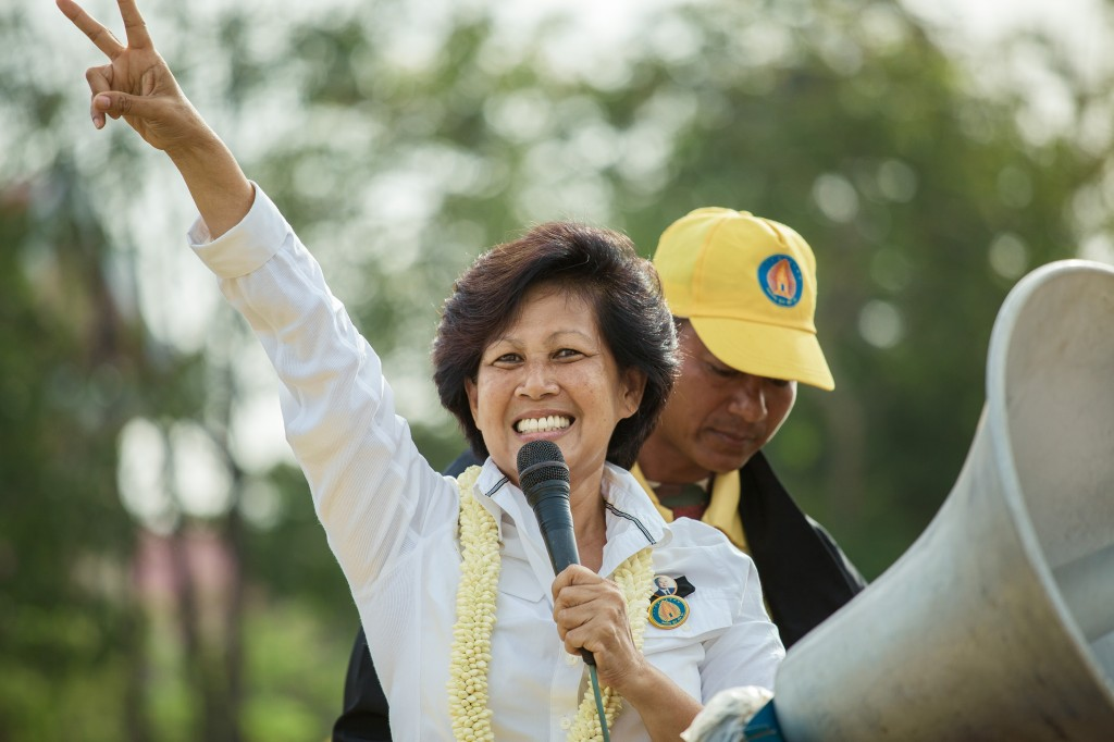 Princess Norodom Arunrasmey, daughter of late king Norodom Sihanouk and head of the royalist party, cheers her supporters gathered at the Freedom Park in Phnom Penh. Photo by  Thomas Cristofoletti, Copyright @Demotix (7/3/2013)