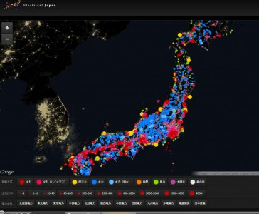 screenshot of power plant database compiled by researchers at Electrical Japan