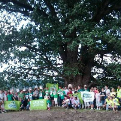 """Green of Serbia"" activists gather around the 600-year-old oak tree in Savinac; photo courtesy of Insitute for Sustainable Communities - Serbia Facebook fan page."