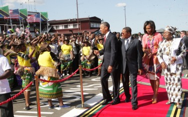 President Obama arriving at Julius Nyerere International Airport. Photo courtesy of Issa Michuzi.