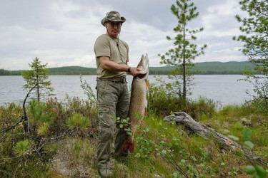 Vladimir Putin poses with his catch, Krasnoyarsk, Russia, 20 July 2013, Kremlin photo service, public domain.