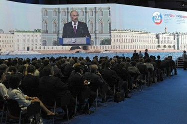 Putin addresses the plenary session of the St. Petersburg International Economic Forum, 21 June 2013, Russian Presidential Press Service, public domain.