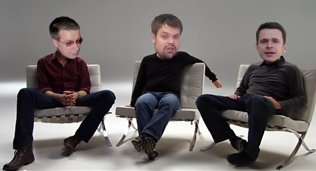 The Ricky Gervais Show, Yaroslavl edtition. (from left to right, Timofey Sheviakin as Steven Merchant, Kirill Shulika as Ricky Gervais, and Ilya Yashin as the round-headed buffoon Karl Pilkington). Image remixed by author using YouTube screenshot.