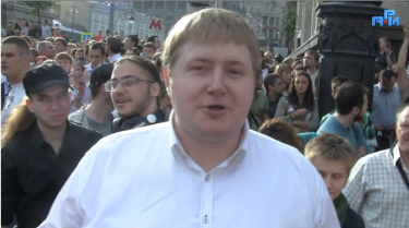 Egor Prosvirnin at a nationalist rally. YouTube screenshot.