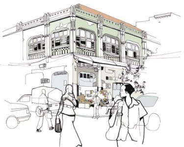 An artistic sketch by Sarah Markes of one of 5 buildings on Samora Avenue in Dar Es Salaam that was demolished on August 10, 201. Illustration used with permission from Sarah Markes of http://darsketches.wordpress.com/