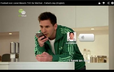 Soccer megastar Lionel Messi has endorsed WeChat. But inside China, users experience a different reality. Screen Capture from WeChat Ads via Jing Gao.