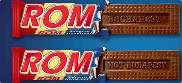 Bucharest, Not Budapest; one of the official images of the ROM chocolate advertising campaign.