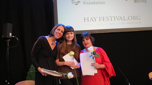 2013 Commonwealth Writers Prize Winner, Lisa O'Donnell and co-winners of the 2013 Commonwealth Short Story Prize, Eliza Robertson and Sharon Millar, at the Hay Festival.