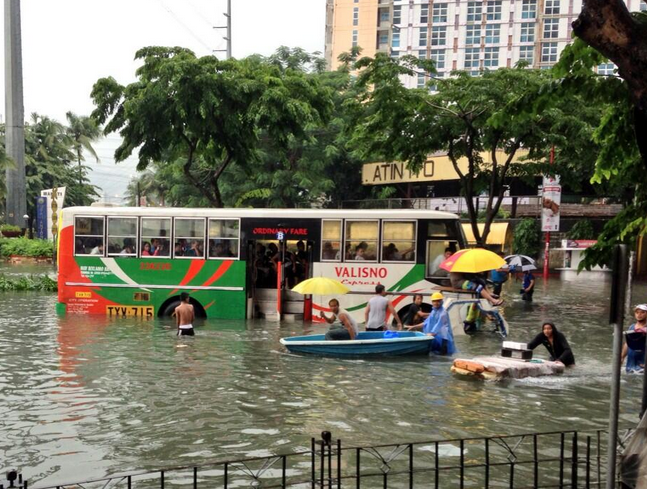 Flood in Makati, the country's central business district. Photo by Ryan Chua