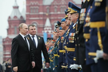 President Vladimir Putin inspects the troops on Victory Day, 9 May 2012, Moscow. Kremlin press service, public domain.