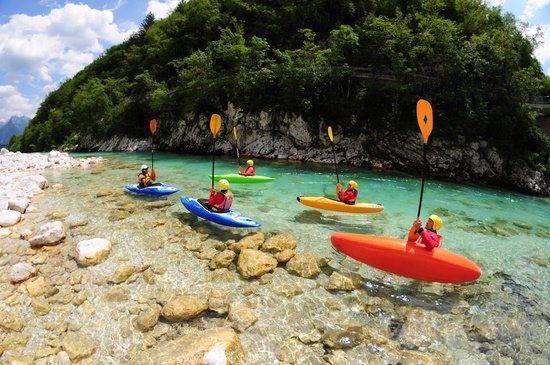 Kayaking lessons in Soča Valley; photo courtesy of Soča Rafting, used with permission.