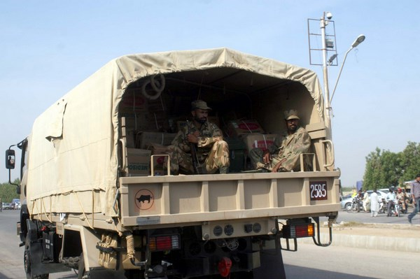 Pakistan Army Medical Squad leaves for Balochistan to treat with earthquake affected of Awaran at Malir Cantt in Karachi. Image by ppiimages. Copyright Demotix (25/9/2013)