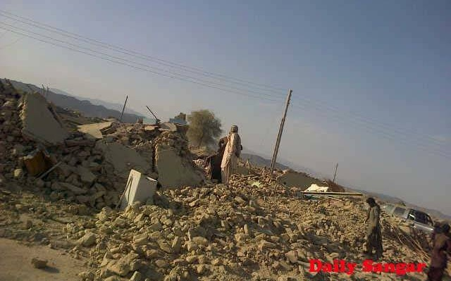 Mud houses collapsed in Awaran during Balochistan earthquake. Photo by Sangar Publication (Shared with permission)