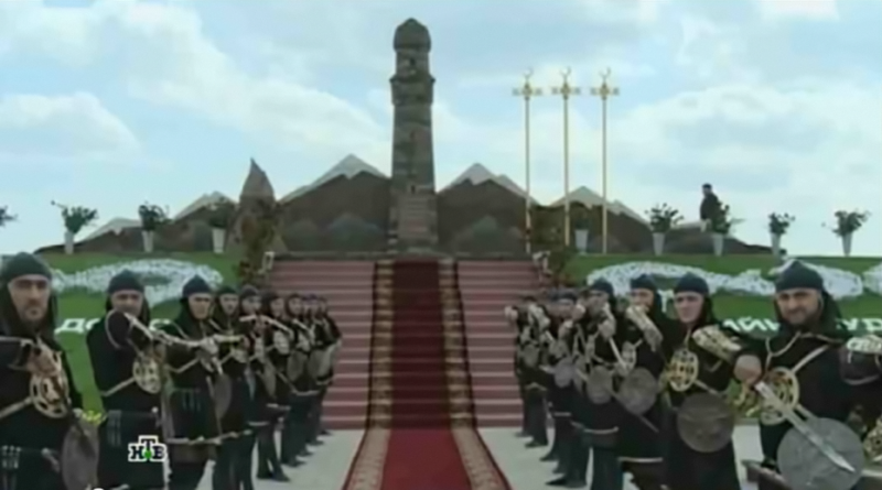 Dedication of the Dadi-Yurt memorial. YouTube screenshot.