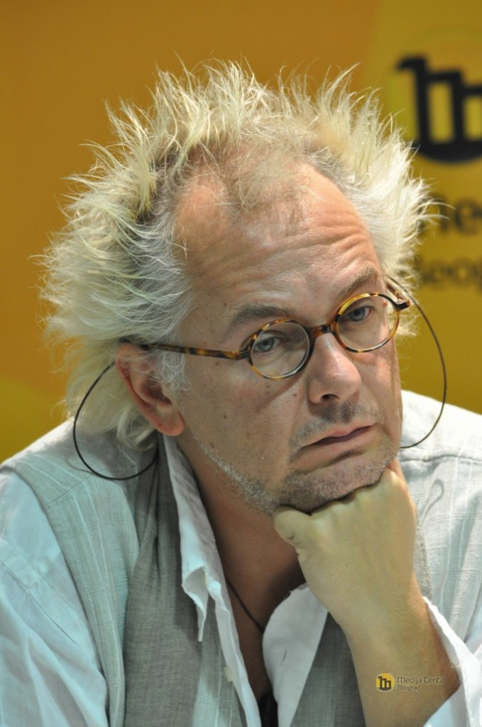 "Ivan Tasovac at a press conference for the premiere of the film ""Age of Stupid"", 2009; photo courtesy of Media Center Belgrade www.mc.rs, used with permission."