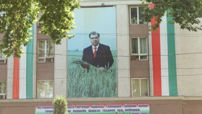 A giant portrait of the president mounted on the building of the Ministry of Agriculture in central Dushanbe. Image by Alexander Sodiqov, July 2013.