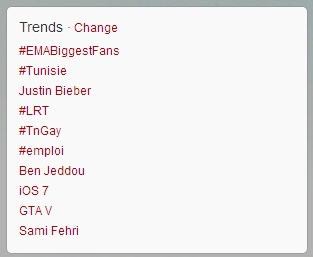A screenshot of Twitter trending topics on Sunday, 28th.