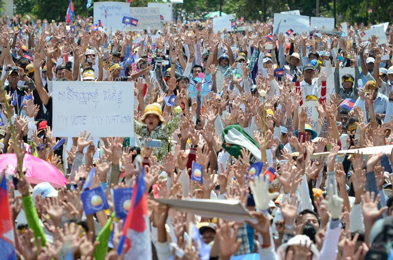 Thousands joined a protest against voting irregularities in Cambodia. Photo by Kimlong Meng, Copyright @Demotix (9/7/2013