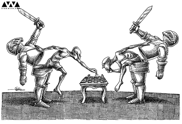 'At the negotiation table' Cartoon by Mana Neyestani via Iran Wire
