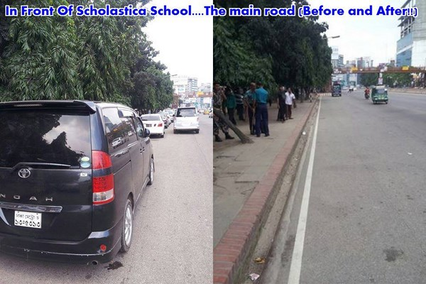 Police cleared illegal parking in front of Scholastica School in Uttara
