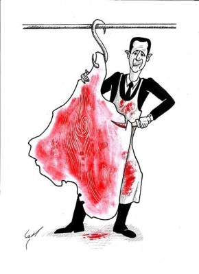Caricature by Husam al-Saadi shows Bashar Assad butchering Syria's map as though it were an Eid sacrifice.