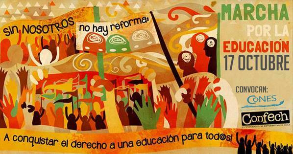 The Confederation of Chilean Students (Confech) called for a march on October 17 to demand free and high quality education for all Chileans. Photo shared by Prensa Opal on Facebook.