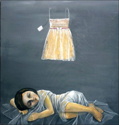 "Suzan Yaseen paints ""The Martyr and the Eid Dress."""