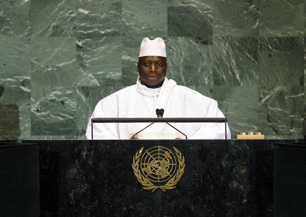 President of the Gambia Yahya Jammeh addresses United Nations General Assembly on 24 September, 2013. UN photo by Erin Siegal. Used under Creative Commons license BY-NC-ND 2.0.