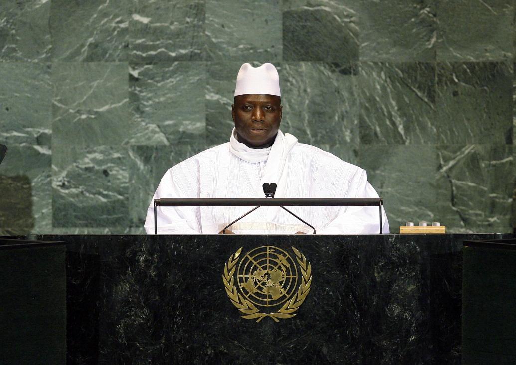 Президент Гамбии Яйя Джамме (Yahya Jammeh) обращается к Организации Объединенных Наций 24 сентября 2013 года. Фотография Эрин Сигал (Erin Siegal) по Creative Commons license BY-NC-ND 2.0.