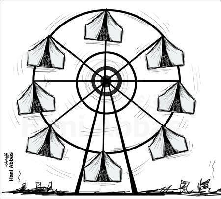 Hani Abbas sketches a Ferris wheel with refugee tents