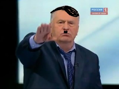 Vladimir Zhirinovsky as Hitler. Anonymous image distributed online.