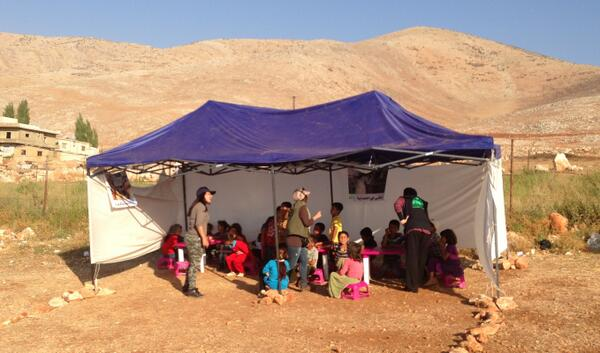 """A classroom at a school for Syrian refugees in Lebanon near the border with Syria. 280 students attend,"" tweets  Derek Stoffel (@DerekStoffelCBC)"