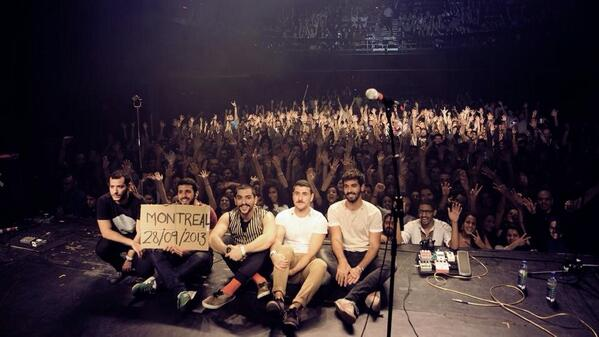 Mashrou' Leila on stage in Metropolis, Montreal. Photo credit: Mashrou' Leila's Facebook page.