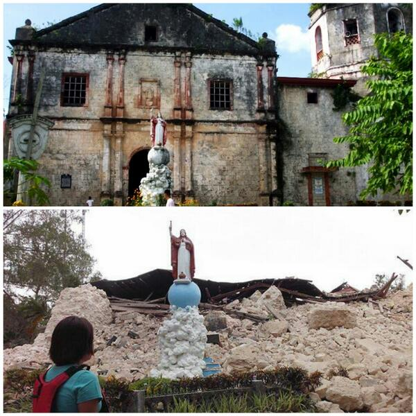 @rod_bolivar: Saint Vincent Parish Church in Maribojoc, Bohol crumbled to the ground after the earthquake. pic.twitter.com/MhTC584Wid