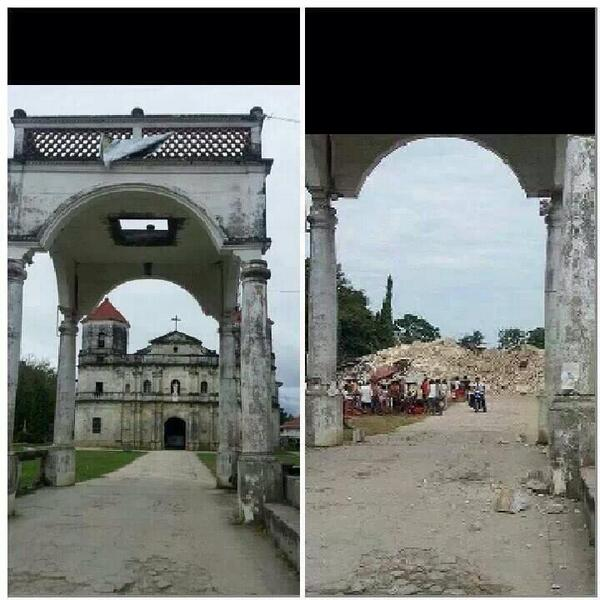 "@Huntress96: the worst church damage in Bohol. The church is now pulverized :""( pic.twitter.com/fcsv2ibPK3"