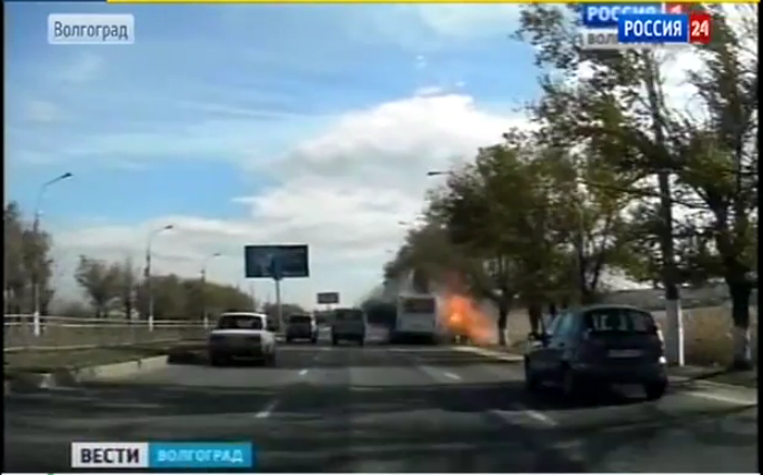 Volgograd bus explosion caught by a windshield mounted camera. YouTube screenshot.