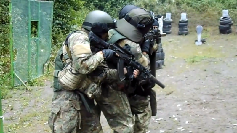 Russian special forces training in the North Caucasus. Screenshot from Youtube video published by hardingush.