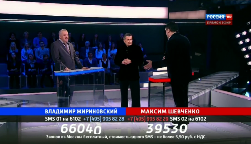 "Zhirinovsky (on the left) debating Maksim Shevchenko on ""The Duel."" YouTube screenshot."