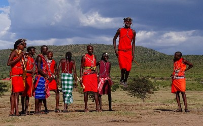 Young Maasai warriors doing the traditional warriors' dance. Photo released under Creative Commons (CC BY-SA 3.0) by Wikipedia user Bjørn Christian Tørrissen.