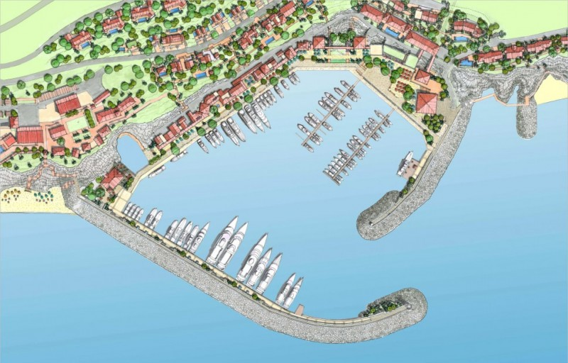 One of the planned marinas and residential areas in Luštica Bay; image from promotional press package by Orascom Development, public domain.