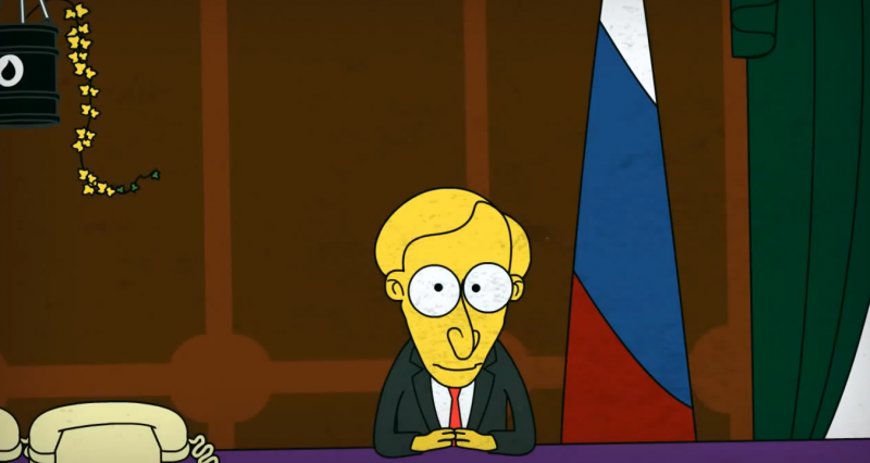 A young Vladimir Putin, imagined as a young Mr. Burns from The Simpsons, by Egor Zhgun, YouTube screenshot.
