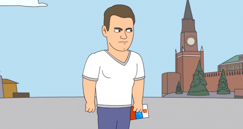 Cartoon Alexey Navalny, animated by YouTube user KuTstupid, 22 August 2013, screen capture.