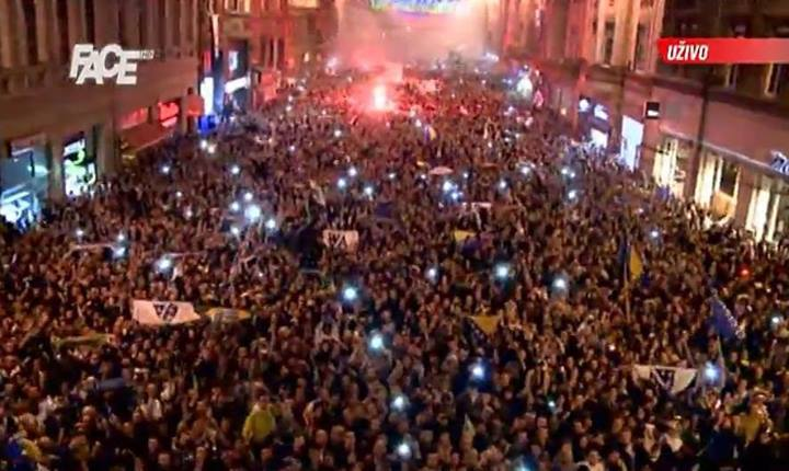 "Fans celebrated the historic win on the streets of Sarajevo throughout the night; image courtesy of Bosnia-Herzegovina national team's ""Zmajevi"" Facebook fan page, used with permission."