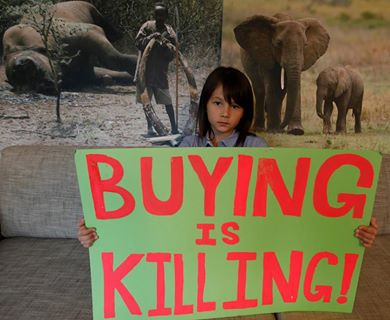 Christine wants consumers aware that buying of ivory products is equal to killing of elephants. Photo from Hong Kong for Elephants.