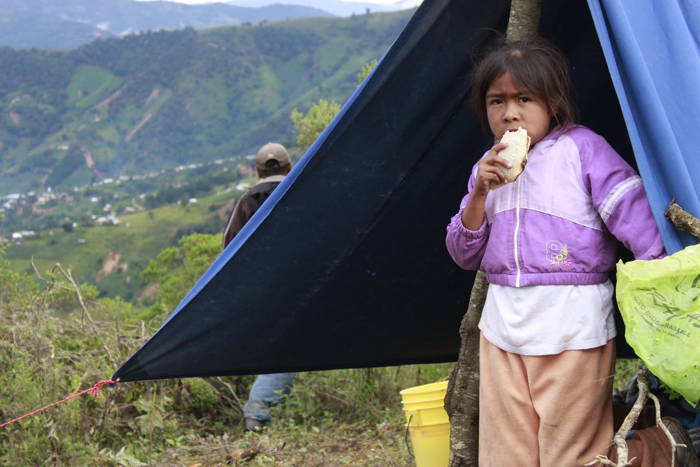 Camp of indigenous people displaced by storms. Photo from The Tlachinollan Human Rights Center used with permission.