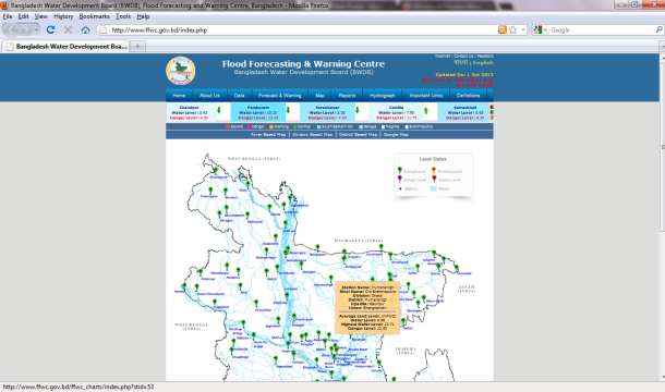Screenshot of the Bangladesh  Flood Forecasting and Warning Centre (FFWC) website