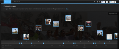 Screenshot of 'Protests in Iraq' timeline on Crowdvoice.