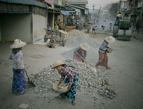 Women workers in Myanmar.