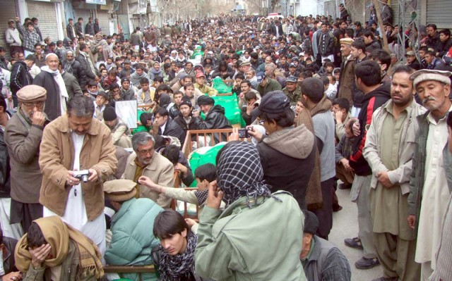 Shia Muslims Protest in Quetta. Image by ppiimages. Copyright Demotix (11-01-2013)